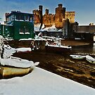 snow, castle and boats by Beverly Cash
