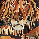 Relaxed Lion Portrait in Cubist Style by taiche