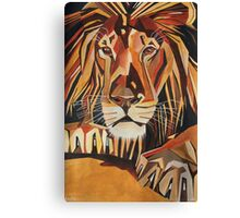 Relaxed Lion Portrait in Cubist Style Canvas Print