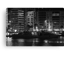 Night shot 04 - Beirut - Zaytouni Bay - Black & White Canvas Print