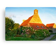 Flowered cottage in Brittany Canvas Print