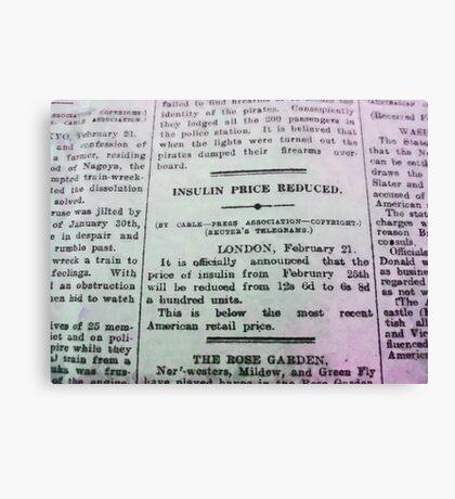 Insulin Price Reduced Canvas Print