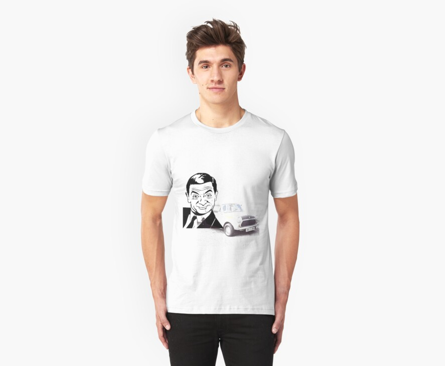 Black and white Mr Bean and his car T-shirt  by Clayt0n