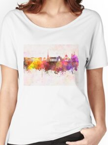 Saint Petersburg skyline in watercolor background Women's Relaxed Fit T-Shirt