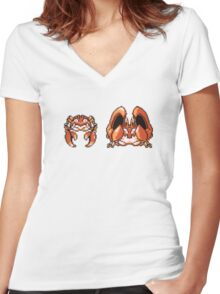 Krabby evolution  Women's Fitted V-Neck T-Shirt