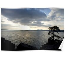 Sea view at sunset Poster