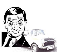 Black and white Mr Bean and his Car by Clayt0n