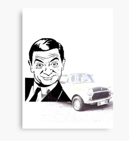 Black and white Mr Bean and his Car Canvas Print