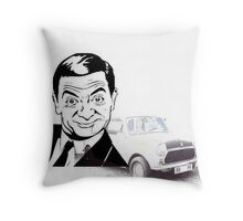 Black and white Mr Bean and his Car Throw Pillow