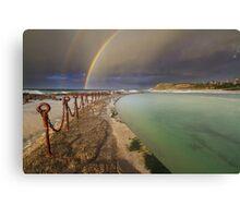 Rainbow over the canoe pool Canvas Print