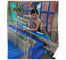 young man working a hand loom- El Salvador Poster