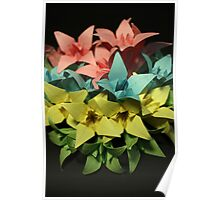 Origami Flowers #1-4 Poster