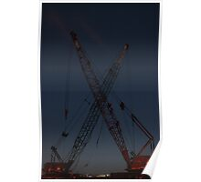 Cranes on the East River Poster
