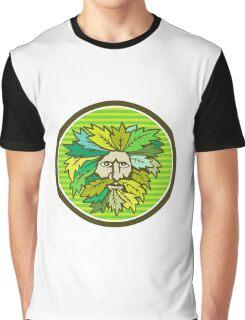 Green Man Foliate Head Circle Retro Graphic T-Shirt
