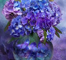 Hydrangeas In Hydrangea Vase by Carol  Cavalaris