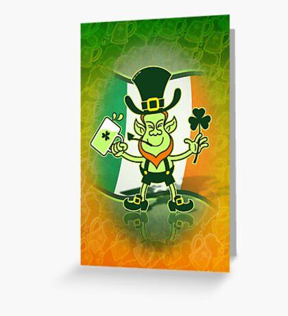 Green Leprechaun Drinking a Toast Greeting Card