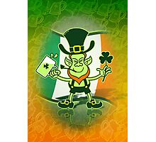Green Leprechaun Drinking a Toast Photographic Print