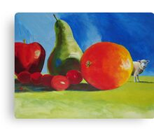 Surreal Still Life painting with Fruit & Sheep! 'Wrong Field?' Canvas Print