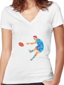 Rugby Player Kicking Ball Low Polygon Women's Fitted V-Neck T-Shirt