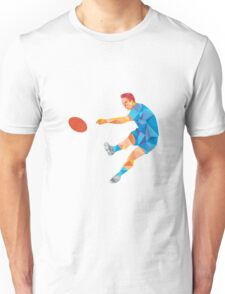 Rugby Player Kicking Ball Low Polygon Unisex T-Shirt