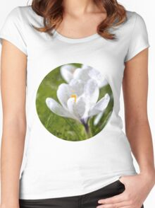 White Crocus Women's Fitted Scoop T-Shirt