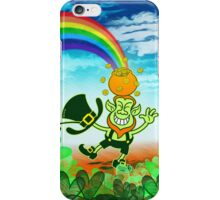 Green Leprechaun Balancing a Pot on his Head iPhone Case/Skin