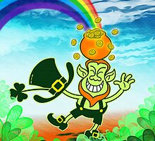 Green Leprechaun Balancing a Pot on his Head by Zoo-co