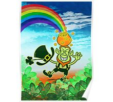 Green Leprechaun Balancing a Pot on his Head Poster
