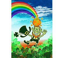 Green Leprechaun Balancing a Pot on his Head Photographic Print