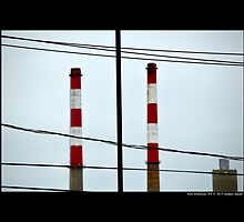 Red And White Power Plant Towers - Port Jefferson, New York by © Sophie W. Smith