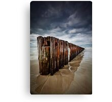 Old Timber Sea Fence in Port Fairy Canvas Print