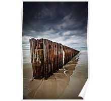 Old Timber Sea Fence in Port Fairy Poster
