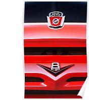 Red Ford F100 truck V8 emblem Poster