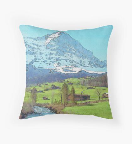 Calm Blue River (Watercolor) Throw Pillow