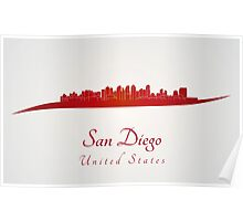 San Diego skyline in red Poster