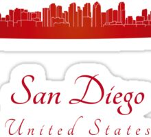 San Diego skyline in red Sticker
