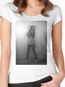 Black & White Motion Blur  Women's Fitted Scoop T-Shirt