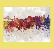 San Francisco skyline in watercolor background Kids Tee