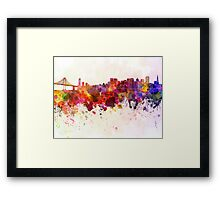 San Francisco skyline in watercolor background Framed Print