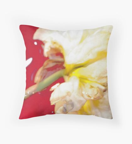 Yellow Daffodil In Water 1 Throw Pillow