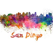 San Diego skyline in watercolor by paulrommer