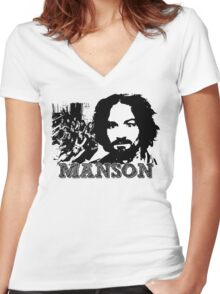 Sketchy Charles! Women's Fitted V-Neck T-Shirt