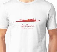 San Francisco skyline in red Unisex T-Shirt