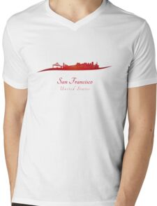 San Francisco skyline in red Mens V-Neck T-Shirt