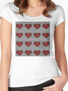knitted hearts Women's Fitted Scoop T-Shirt