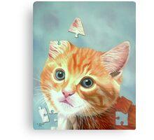 Cat Puzzle Metal Print