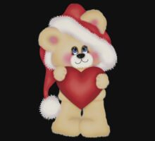 Cute Christmas Bear With Heart Baby Tee