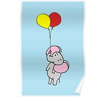 Elephant Blue Poster