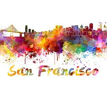 San Francisco skyline in watercolor by paulrommer