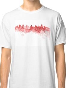 Sao Paulo skyline in red watercolor on white background Classic T-Shirt